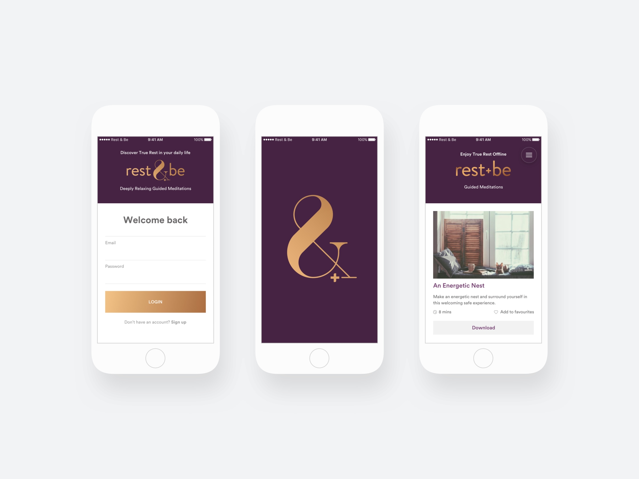 Rest & Be mobile application images